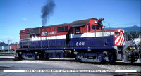 BC606 Bo Bo Rebuilt MLW RS18C  @ Vancouver BCR 09 July 88 � Paul Bartlett w