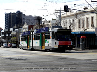 2116 Route 1 Melbourne tram 21 September 2014 © Paul Bartlett