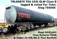 Total TEA Bogie Class B tanks owned by TRL 86872-90