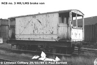 NCB no. 3 MR-LMS brake van Littleton Coll. 89-03-29 P Bartlett [3W]