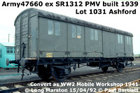 MoS Mobile railway workshop ex SR PMV & vans