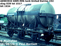 ADW2532 GWR Milk tank United Dairies 232 diag O39