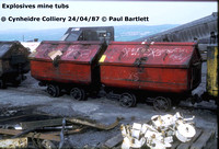 Exoplosive tub 87-04-24 Cynheidre Colliery © Paul Bartlett [W]