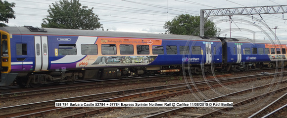 158 784 Barbara Castle 52784 + 57784 Express Sprinter Northern Rail @ Carlilse 2015-08-11 © Paul Bartlett [2w]
