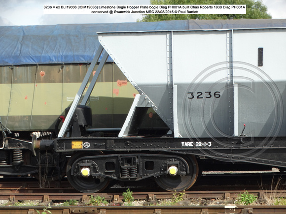 3236 BLI 19036 = ICIM 19036 Bogie Steel Hopper Conserved @ MRT, Swanwick Junct. 2015-08-22 © Paul Bartlett [2w]