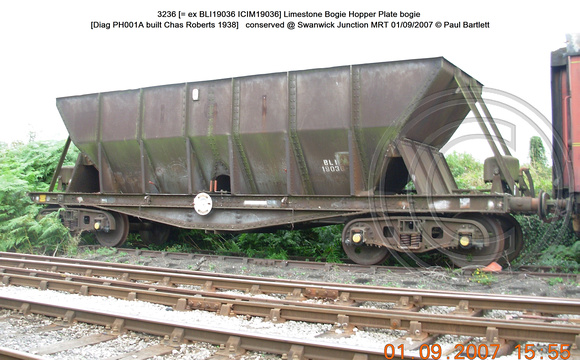 3236 BLI 19036 = ICIM 19036 Bogie Steel Hopper conserved @ Swanwick Junction MRT 2007-09-01 © Paul Bartlett