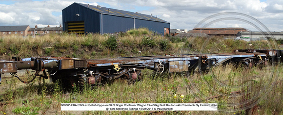 600005 FBA EWS ex British Gypsum Bogie Container Wagon @ York Klondyke Sidings 2015-08-15 © Paul Bartlett [0w]