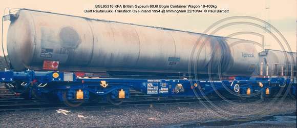 BGL95316 KFA British Gypsum Bogie Container Wagon @ Immingham 94-10-22  © Paul Bartlett w