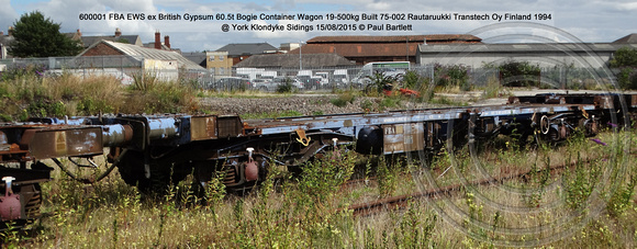 600001 FBA EWS ex British Gypsum Bogie Container Wagon @ York Klondyke Sidings 2015-08-15 © Paul Bartlett [0w]