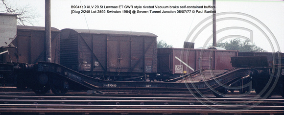 B904110 XLV 20.5t Lowmac ET GWR style riveted Vacuum brake [Diag 2-245 Lot 2592 Swindon 1954] @ Severn Tunnel Junction 77-07-05 © Paul Bartlett w