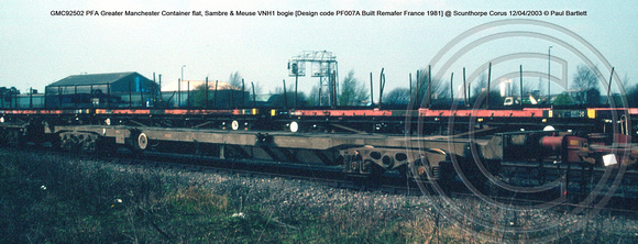GMC92502 PFA Greater Manchester Container flat, Sambre & Meuse VNH1 bogie [Design code PF007A Built Remafer France 1981] @ Scunthorpe Corus 2003-04-12 © Paul Bartlett w
