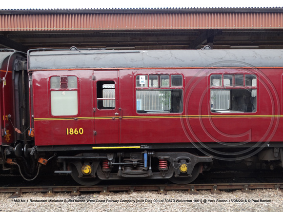 1860 Mk 1 Restaurant Miniature Buffet owned West Coast Railway Company [built Diag 99 Lot 30670 Wolverton 1961] @ York Station 2016-06-18 © Paul Bartlett [5w]