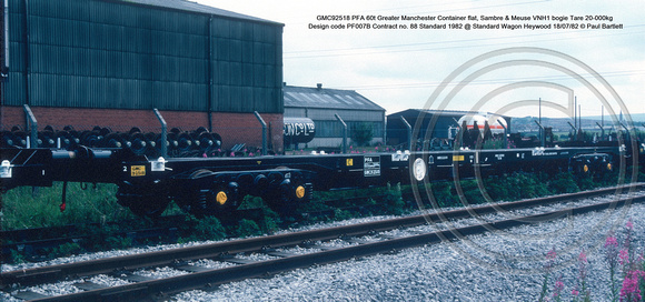 GMC92518 PFA 60t Greater Manchester Container flat, Sambre & Meuse VNH1 bogie Tare 20-000kg Design code PF007B Contract no. 88 Standard 1982 @ Standard Wagon Heywood 82-07-18 © Paul Bartlett [1w]