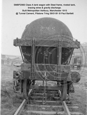 SMBP2065 tank wagon with Steel frame, riveted tank, bracing wires Built 1915 @ Tunnel Cement, Pitstone Tring 26-01-91 © Paul Bartlett [05w]