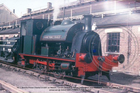 No. 1 Bonnie Prince Charlie 0-4-0ST ex Messrs. Corrall Ltd Robert Stephenson and Hawthorns Works No. 7544 1949 conserved @ Didcot GWS 74-09-21 © Paul Bartlett w