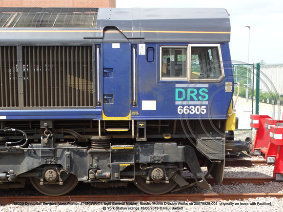 66305 DRS [classification JT42CWR-T1  built General Motors - Electro Motive Division Works no 20078929-005] @ York Station sidings 2016-06-18 © Paul Bartlett [05w]