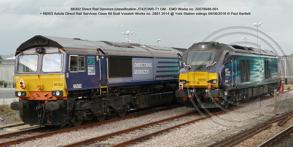 66302 DRS [JT42CWR-T1 GM - EMD Works no. 20078946-001] + 68003 Astute DRS Class 68 Built Vossloh Works no. 2681 2014 @ York Station sidings 2016-08-09 © Paul Bartlett