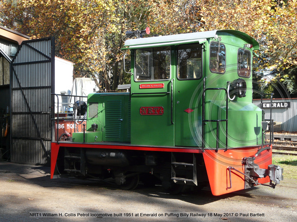 NRT1 William H. Collis Petrol locomotive built 1951 at Emerald on Puffing Billy Railway 18 May 2017 © Paul Bartlett [1]