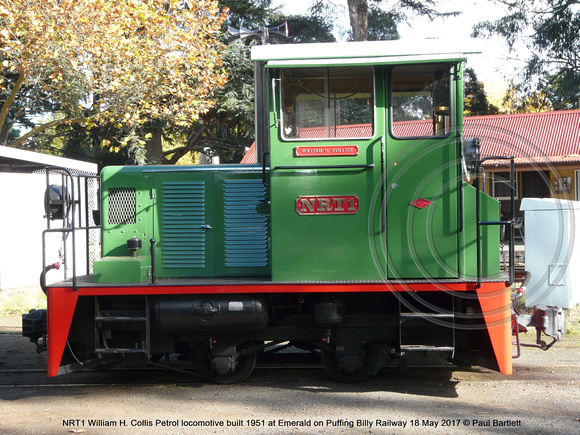 NRT1 William H. Collis Petrol locomotive built 1951 at Emerald on Puffing Billy Railway 18 May 2017 © Paul Bartlett [2]