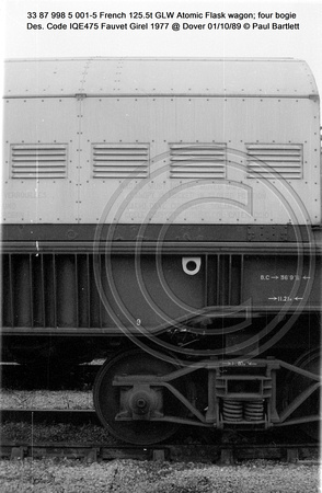 33 87 998 5 001-5 French 125.5t GLW Atomic Flask wagon four bogie Des. Code IQE475 Fauvet Girel 1977 @ Dover 89-10-01 © Paul Bartlett [09w]