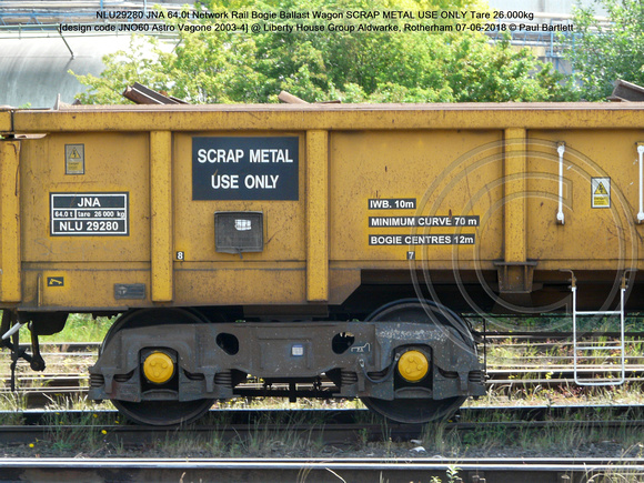 NLU29280 JNA 64.0t Network Rail SCRAP METAL USE ONLY Tare 26.000kg [design code JNO60 Astro Vagone 2003-4] @  Aldwarke, Rotherham 2018-06-07 © Paul Bartlett [2]
