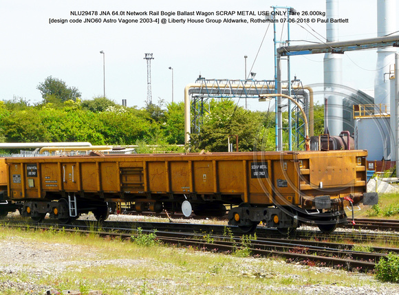 NLU29478 JNA 64.0t Network Rail SCRAP METAL USE ONLY Tare 26.000kg [design code JNO60 Astro Vagone 2003-4] @  Aldwarke, Rotherham 2018-06-07 © Paul Bartlett [1]