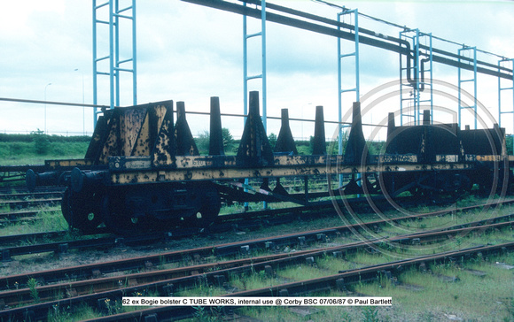 62 ex Bogie bolster C TUBE WORKS, internal use @ Corby BSC 87-06-07 © Paul Bartlett w