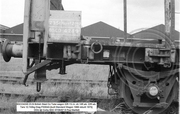 BSCO4249 23.5t British Steel Co Tube wagon Tare 12.740kg Diag PX004A [built Standard Wagon 1966 rebuilt 1975] OOU @ Corby BSC 87-06-07 © Paul Bartlett [04w]