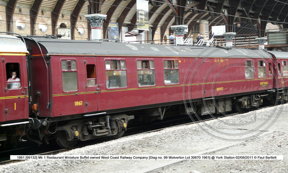 1861 [99132] Mk 1 Restaurant Miniature Buffet West Coast @ York Station 2011-08-02 � Paul Bartlett w