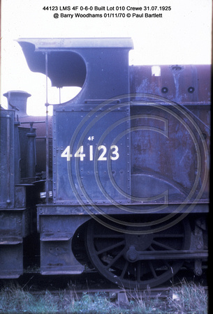 44123 LMS 4F 0-6-0 Built Lot 010 Crewe 31.07.1925 @ Barry Woodhams 70-11-01 � Paul Bartlett [3w]