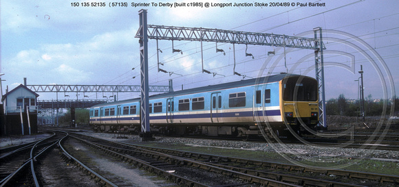 150 135 52135 Sprinter @ Longport Junction Stoke 89-04-20 � Paul Bartlett w