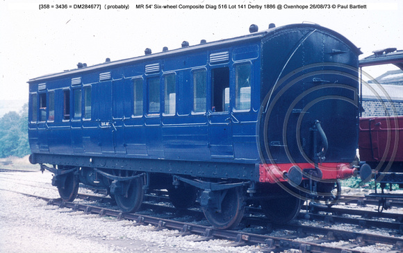 [358] (probably)  MR 54' Six-wheel Composite @ Oxenhope 73-08-26 � Paul Bartlett w