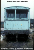 NCB no. 3 MR-LMS brake van Littleton Coll. 89-03-29 P Bartlett [2W]