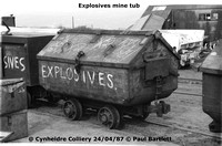 Exoplosive tub 87-04-24 Cynheidre Colliery © Paul Bartlett [2W]