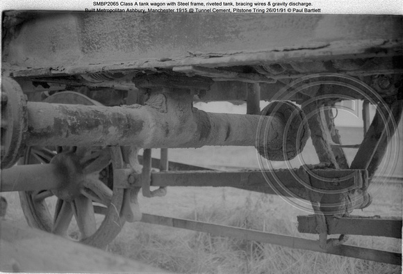 SMBP2065 tank wagon with Steel frame, riveted tank, bracing wires Built 1915 @ Tunnel Cement, Pitstone Tring 26-01-91 © Paul Bartlett [15w]