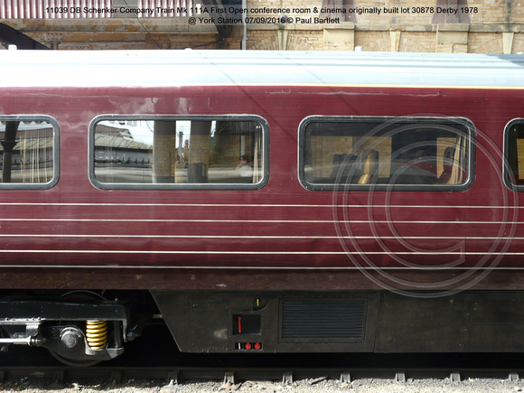 11039 DB Schenker Company Train Mk 111A First Open conference room & cinema built lot 30878 Derby 1978  @ York station 2016-09-07 © Paul Bartlett [06w]