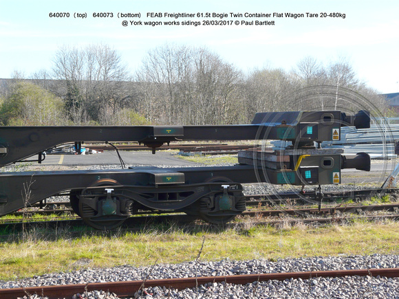 640070 (top) 640073 (bottom) FEAB Freightliner Bogie Twin Container Flat Wagon  @ York wagon works sidings 2017-03-26 © Paul Bartlett [3w]