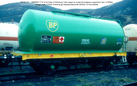 BPO67161 = SMBP622 TTA 32.4t Class A Petroleum Tank wagon air brake Design code TT026X Pickering @ Swansea Marcrofts 91-03-09 © Paul Bartlett [1w]