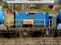 99 70 9310 012-8 KFA 61.6t Rail head treatment train – Container frame [ex AVON Design code PF007D Powell Duffryn 1985] @ York NR Holgate depot Reception Sidings 2016-04-24 © Paul Bartlett [4w]
