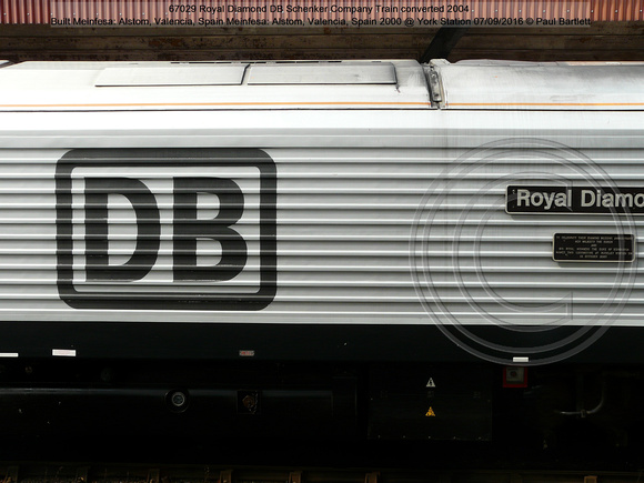 67029 Royal Diamond DB Schenker Company Train converted 2004 Alstom, Spain 2000 @ York Station 2016-09-07 © Paul Bartlett [08w]