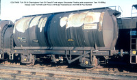 CGL70405 TUA Charringtons Fuel Oil Class B Tank wagon Gloucester Floating axle suspension Design code TU016A built Procor [1979] @ Thameshaven 86-01-25 © Paul Bartlett w
